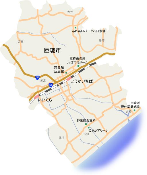 匝瑳市内の地図画像