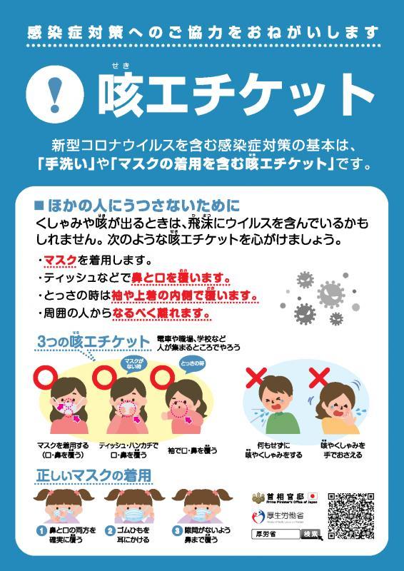 咳エチケット(新型コロナウイルス対策)